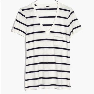 Madewell Whisper Cotton V-Neck T in Creston Stripe